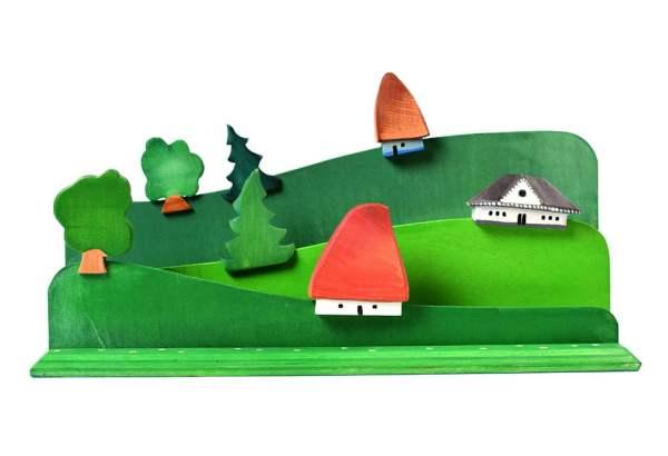 Jucarie construieste si picteaza satul din lemn