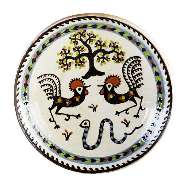 Farfurie Ceramica Horezu Copacul vietii Cocos Sarpele casei Bordura Bleu 33-37 cm