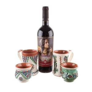 Set căni pentru vin mici și mari ceramică Bledea și vin fetească neagră ediție limitată România