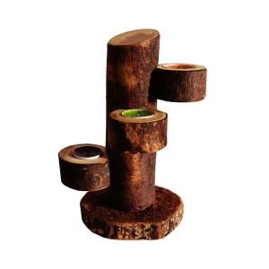 Suport lumanari din lemn natural