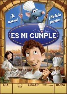 Invitación de cumpleaños de Ratatouille gratis