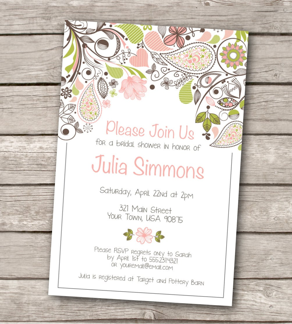 Wedding Invitation Wording Printable Rustic Wedding