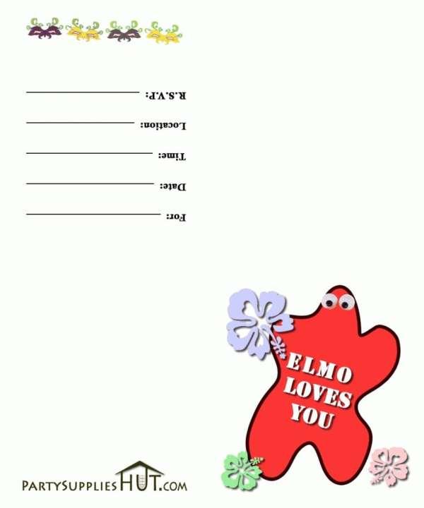 Free Templates Elmo Birthday Party Invitations