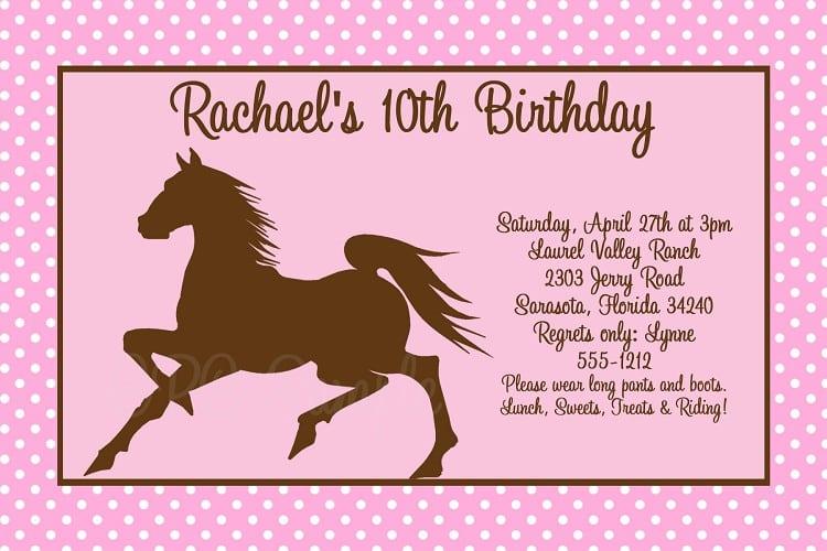 horse birthday invitations free printable
