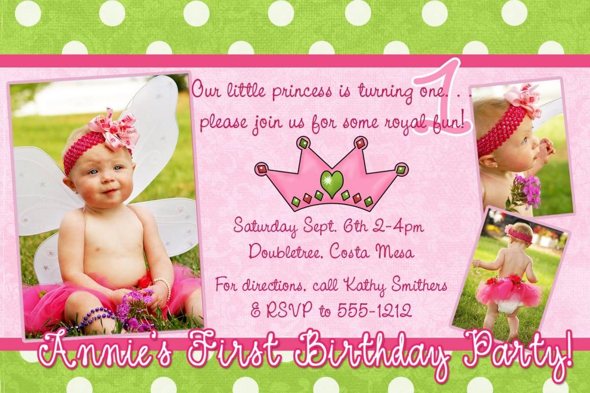 sample of princess birthday invitation