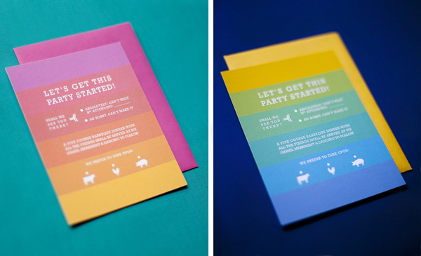 Magpie Paperworks Rainbow Striped Wedding Invites