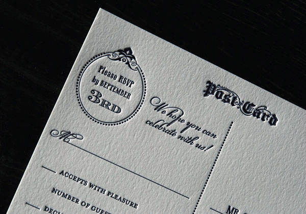 Letterpress Wedding Invitation Rsvp Postcards Wording Example