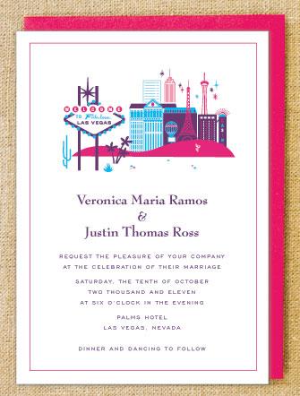 Las Vegas Wedding Dice Theme Ruby Red Faux Glitter Invitations
