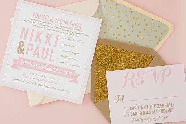 Blush Pink Gold Wedding Stationery Sugar And Type
