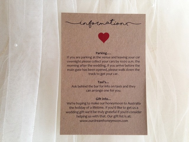 Guest Information Cards and Wedding Gift Wish Cardss Gift