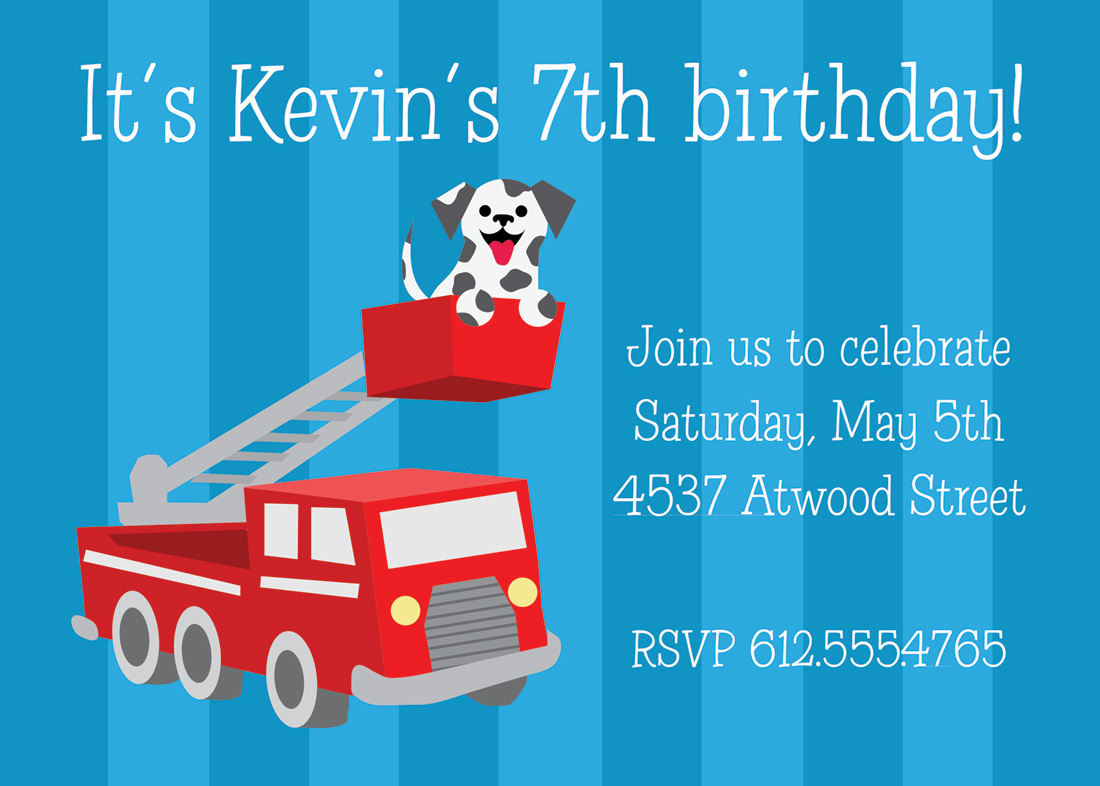 Give those aspiring fire fighters something to grin about! Dalmatian Puppy Fire Truck Invitations