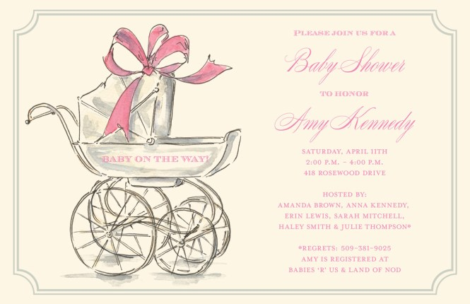 Her Carriage Baby Shower Invitations