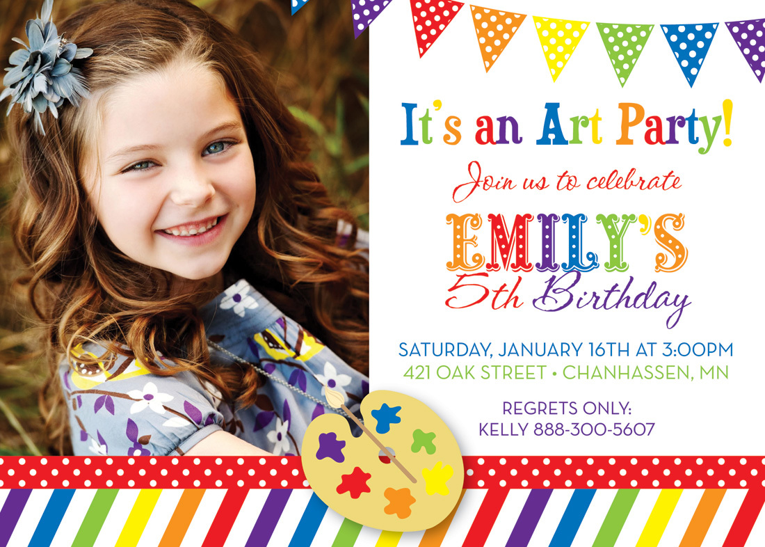 This diy rainbow party outfit is easy, simple and cheap! Art Party Rainbow Theme Photo Birthday Invitations