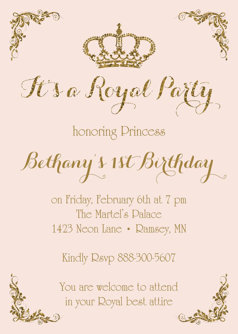 royal princess pink gold glitter
