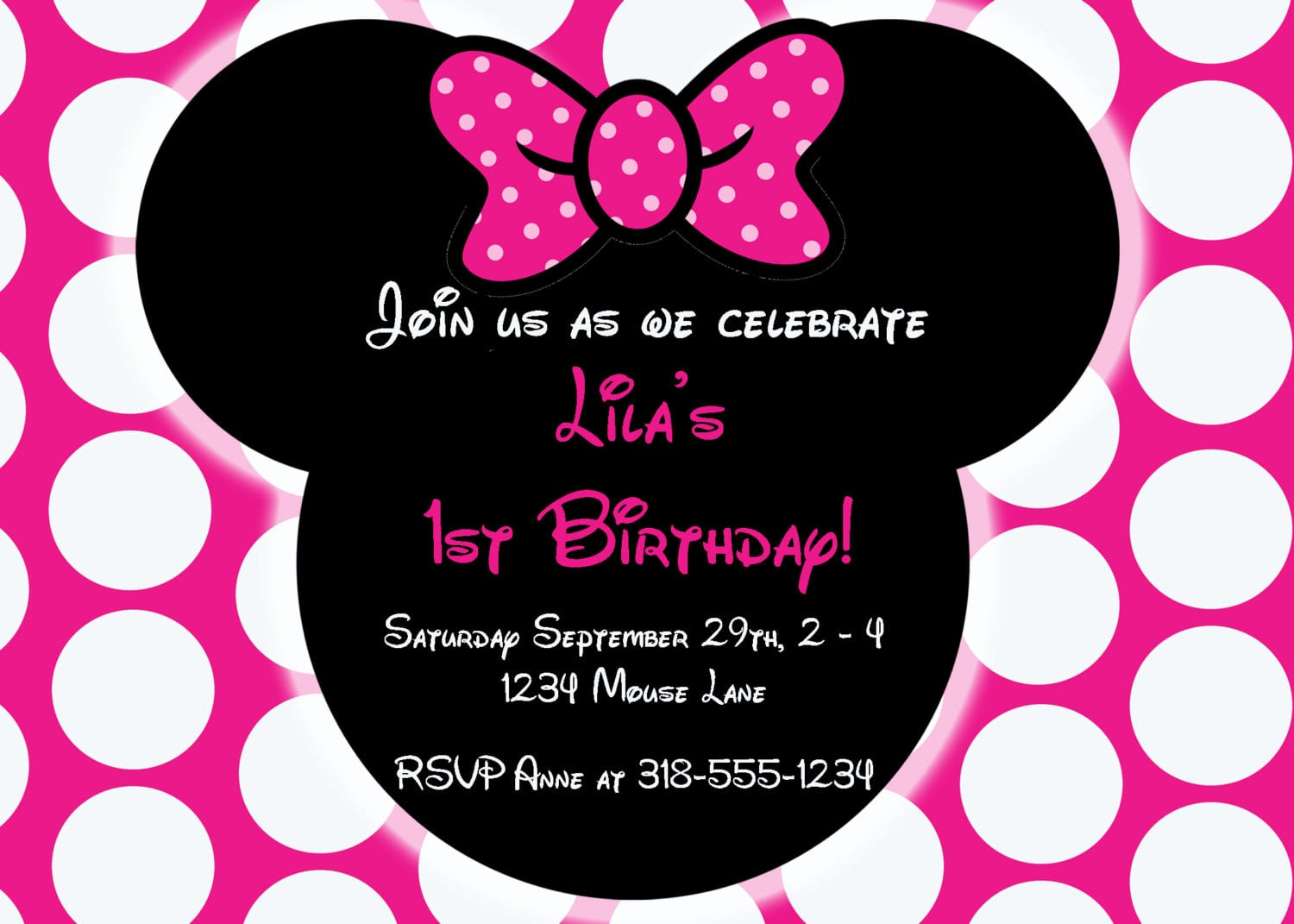 Editable Free Minnie Mouse Invitation