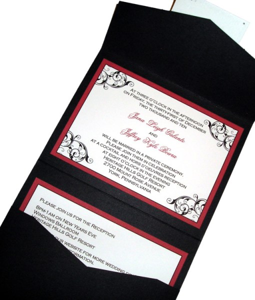 Black and Red Wedding Invitations | black flourishes, red border, pocket card, pocketfold