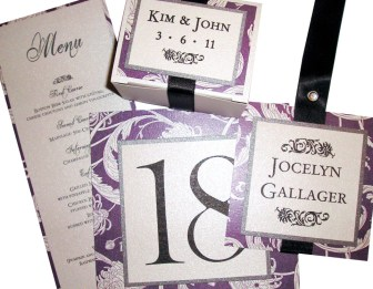 Purple and Silver Wedding Stationery | plum purple floral pattern, metallic silver paper, black satin ribbon, rhinestone | wedding colors