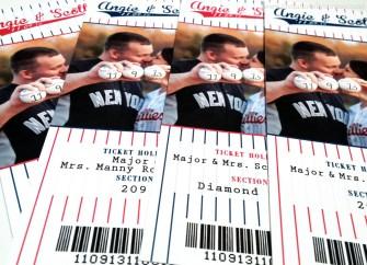 Angie Baseball Ticket Escort Cards