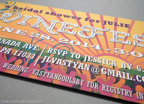 Winefest Bridal Shower Invitation | sunset, colors, crowd, wine