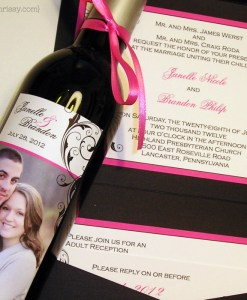 Janelle Wedding Invitation and Wine Label
