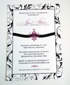 Purple Birthday Invitations | flourish pattern, damask