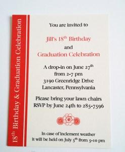 Jill's Birthday & Graduation Invite