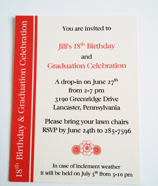 Jill's Birthday & Graduation Invite
