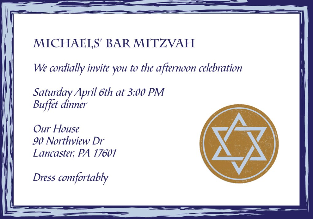 Michael Bar Mitzvah Invitation Reception Card