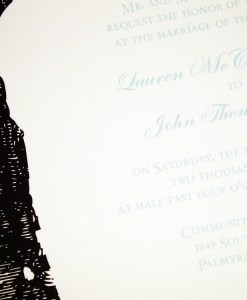 Tree Wedding Invitations | blue script, brown tree trunk, wood carved initials, heart