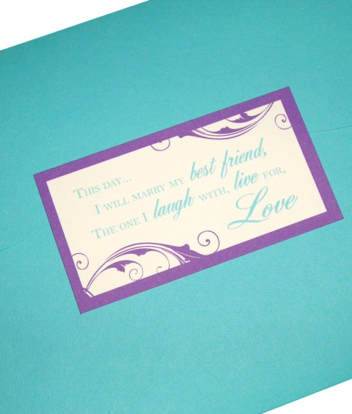 Blue and Purple Wedding Invitations | turquoise blue pocket card, purple flourishes, wedding colors