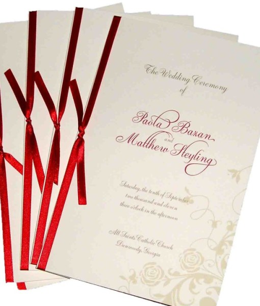 Rose Wedding Programs | cream roses, red satin ribbon, wedding ceremony, wedding programs