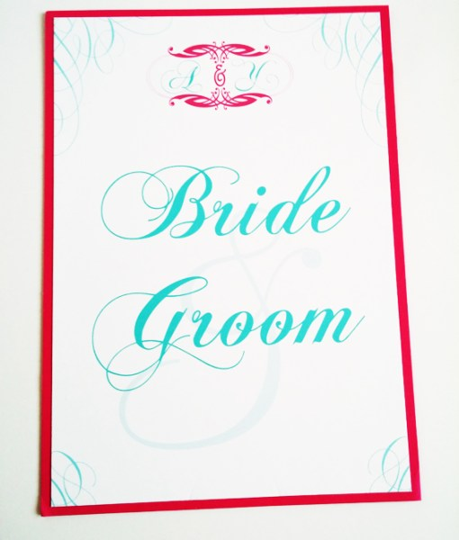 Pink and Blue Wedding Stationery | hot pink, fuchsia, tiffany blue, thank you label, sheer white organza ribbon, silver favor box, menu cards, table numbers, place cards, monogram