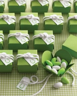 green wedding favor box