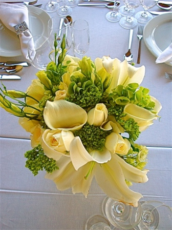 yellow wedding reception centerpiece flowers