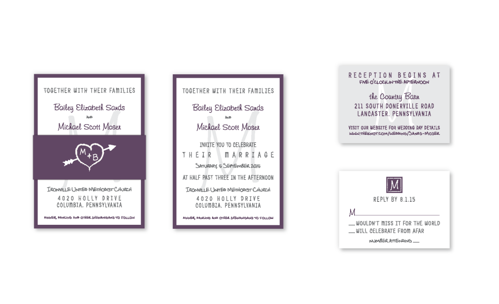 plum purple and white wedding invitation with belly band and monogram