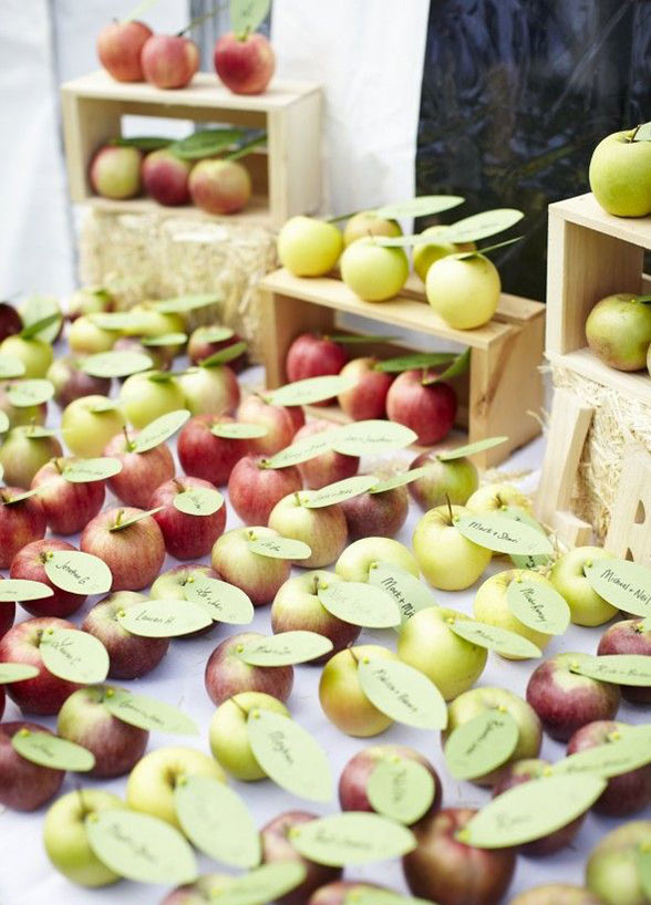 Fall Wedding ideas | apples place cards escort cards reception