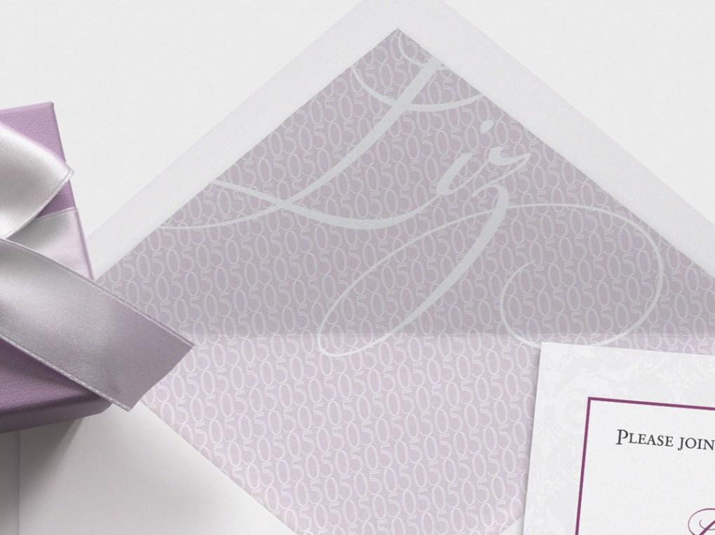 50th birthday invitation close up | purple gray script envelope liner custom