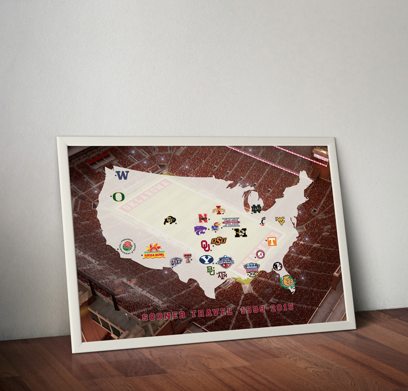 Oklahoma Sooner Football travel map poster art print