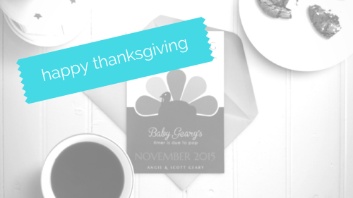 angie geary pregnancy announcement styled photo modern graphic turkey design happy thanksgiving