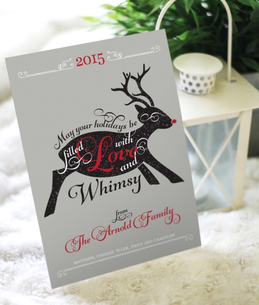 christmas holiday greeting card reindeer Rudolf