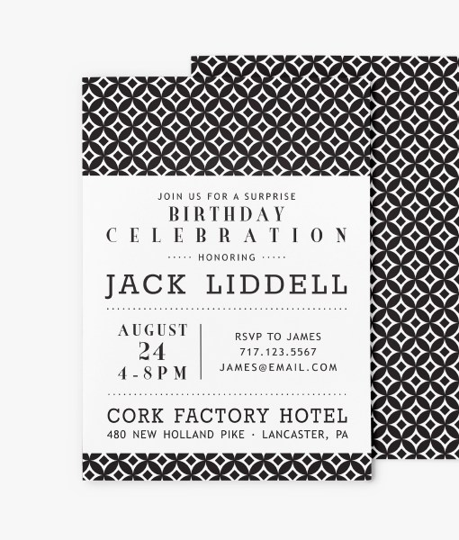 mid century modern circles birthday invitation stationery