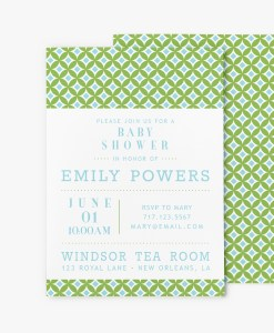 mid century modern circles baby shower invitation stationery blue and green