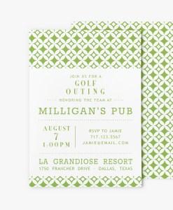 mid century modern circles fund raiser invitation stationery green greenery pantone color of the year