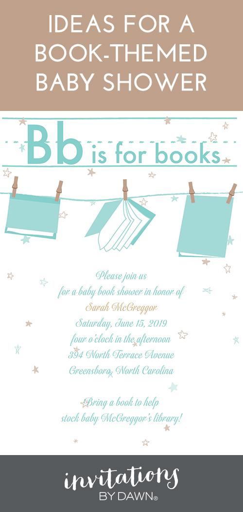 Book Theme Baby Shower Invitations