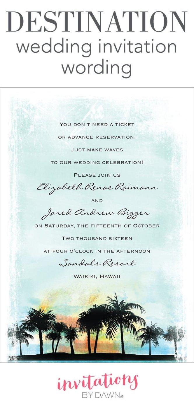 Destination Wedding Invitation Wording