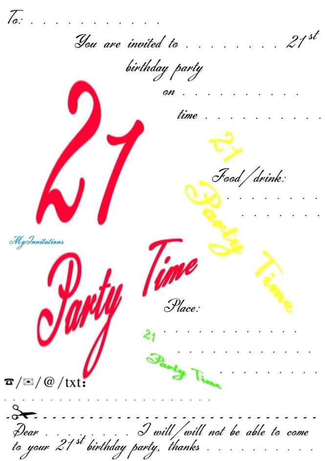 21st Invitation Templates 21st Birthday Invitations – Free 21st Birthday Invitation Templates