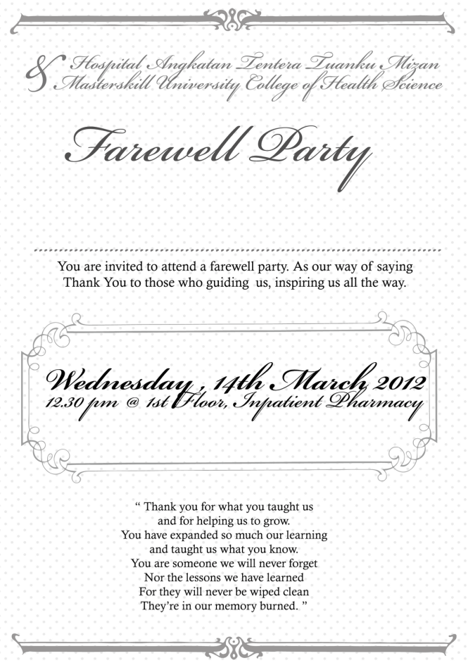 farewell party announcement email