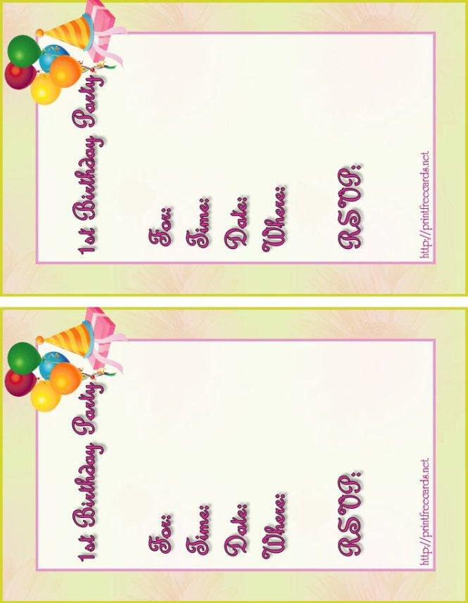 Free Printable Birthday Invitation Cards – Free Printable Invitation Cards Templates