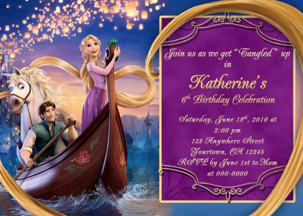 Tangled Rapunzel Birthday Party Invitations Printable