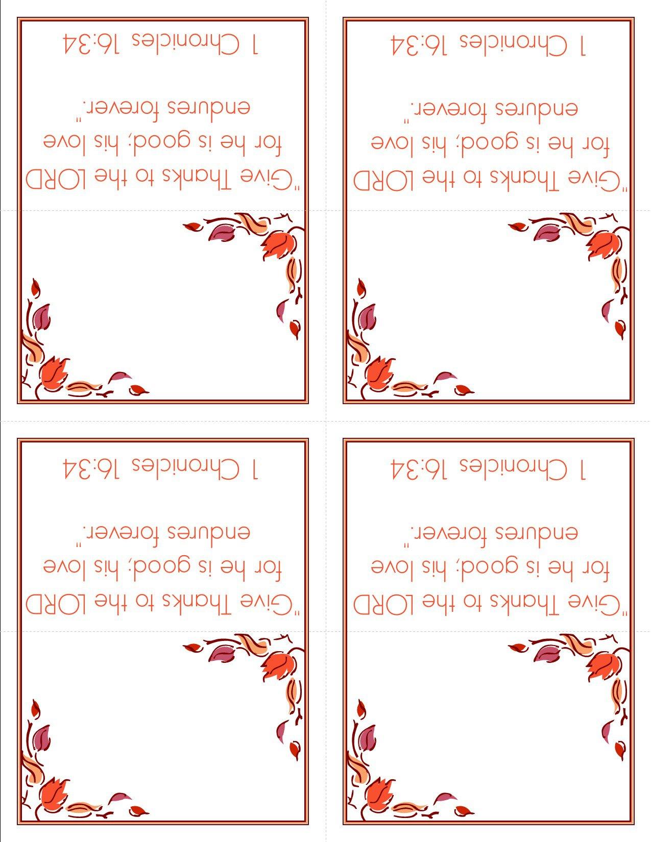 Free Thanksgiving Printable Card Templates